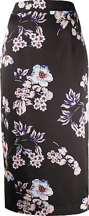 Blumarine Saia lápis com estampa floral - Preto