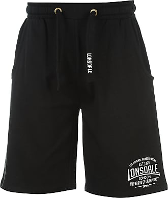 Lonsdale Mens Boxing Shorts Training Tracksuit Bottoms Sports Trousers - Black - XX-Large