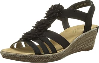 Rieker Women Sandals 62461, Ladies Wedge Sandals, Wedge Sandals,Summer Shoes,Comfortable,high,Schwarz/Schwarz / 00,41 EU / 7.5 UK