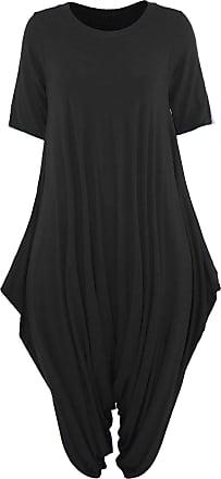 Islander Fashions Womens Short Sleeve Legenlook Hareem Jumpsuit Ladies Party Wear Baggy Romper Suit Black One Size Fits 8-22