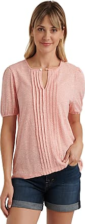 Lucky Brand Womens Short Sleeve V Neck Pintuck Printed Top Shirt, Pink Multi, X-Large