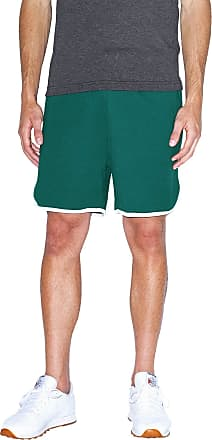 American Apparel Mens Interlock Basketball Shorts Casual, Forest/White, Medium