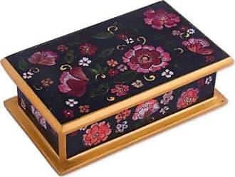 Novica Reverse painted glass decorative box, Colonial Bouquet