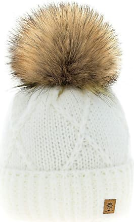 4sold Womens Ladies Beanie Hat Pom Pom Warm Winter Natural Wool Mohair Lining Full Cosy Fleece Liner (Birma Ecru)
