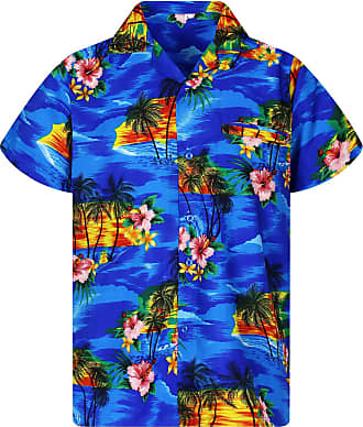 V.H.O. Funky Hawaiian Shirt, Pink Flower, Blue, XXL