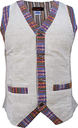 Gheri Mens Contrast Border Boho Single Breasted Cotton Hemp Waistcoat Grey X-Large
