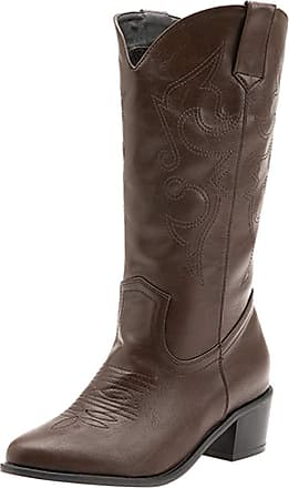 Mediffen Women Classic Pointed Toe Slip on Cowboy Boots Brown Size 39 Asian