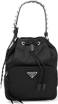 1e23500b50e9a0 Prada Vela Stud-embellished Leather-trimmed Shell Tote - Black