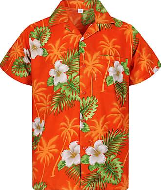 V.H.O. Funky Hawaiian Shirt, Small Flower, Orange, 3XL