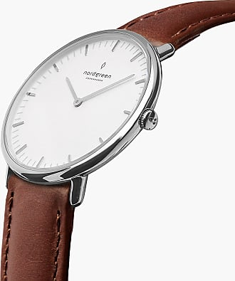 Nordgreen Native - Silver | Brown Leather - 36mm / Silver