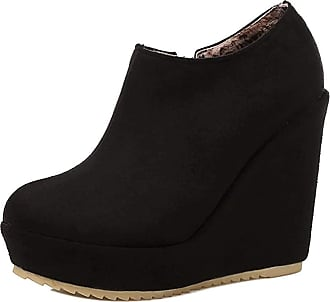 RAZAMAZA Womens High Wedge Heel Ankle Boot Platform Party Shoes Boots Black Size 33 Asian
