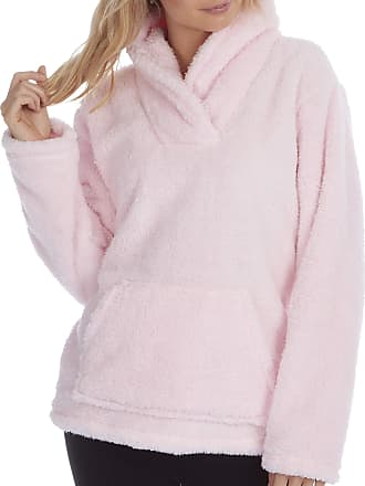 Forever Dreaming Ladies Womens Snuggle Top Shawl Collar Fleece Pouch Pockets Pink
