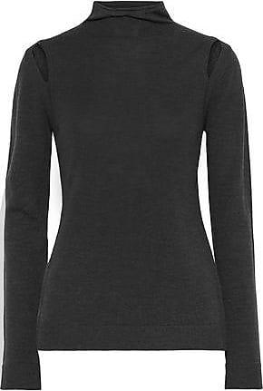 Elie Tahari Elie Tahari Woman Cutout Merino Wool Turtleneck Sweater Charcoal Size XS