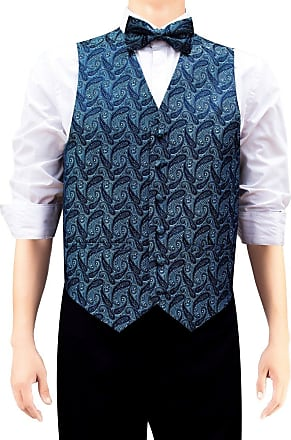Retreez Mens Elegant Paisley Art Pattern Woven Mens Suit Waistcoat Set with Matching Tie, Pre-Tied Bow Tie, Pocket Square, 4 Pieces Gift Set as a Birthday, Na