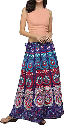 JERFER Women Casual Multicolor Feather Print Skirt Loose Boho Long Bohemian Beach Skirt Autumn Skirt Fall Skirt for Women Purple