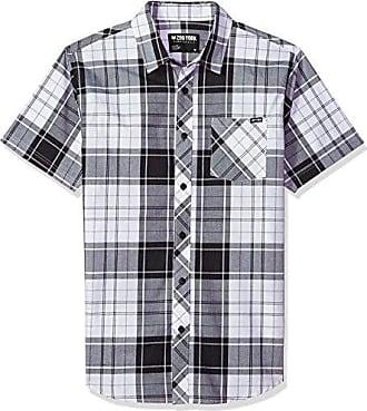 Zoo York Mens Short Sleeve Woven, Ashton Checkered White, Small