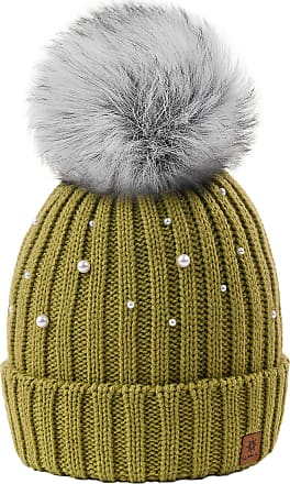4sold Ball Colour Green Womens Girls Winter Hat Wool Knitted Beanie with Large Pom Pom Cap Ski Snowboard Bobble Large Pom Pom Cap Ski Snowboard Bobble