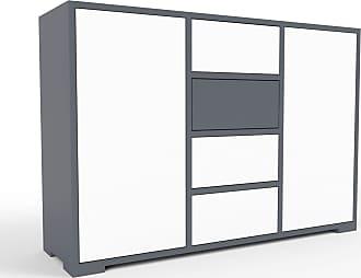 MYCS Sideboard Anthrazit - Sideboard: Schubladen in Weiß & Türen in Weiß - Hochwertige Materialien - 118 x 81 x 35 cm, konfigurierbar
