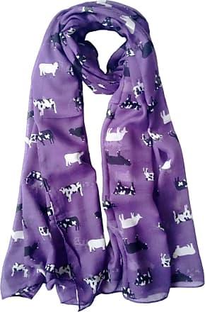 GlamLondon Cow Print Scarf Farm Animal Womens Ladies Fashion Soft Big Shawl Wrap (Purple)(Size:L)