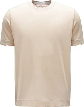 Brunello Cucinelli Feinstrick R-Neck Kurzarm-Pullover beige