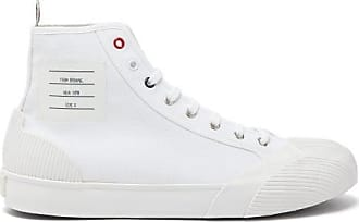 Thom Browne Label-patch High-top Canvas Trainers - Mens - White