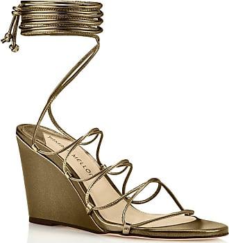 Tamara Mellon Allegra Bronze Nappa Laminata Sandals, Size - 35.5