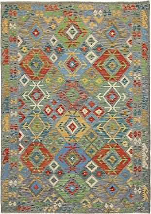 Nain Trading 247x177 Hand Woven Kilim Afghan Dark Brown/Light Blue (Wool, Afghanistan)