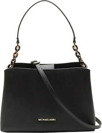 Michael Kors Sofia Large East West Saffiano Leather Satchel Crossbody Bag in Black