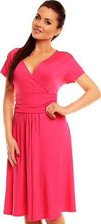 Zeta Ville Womens - Wrap V-Neck Flare Summer Dress - Short Sleeves - 108z (Fuchsia, UK 16, 2XL)