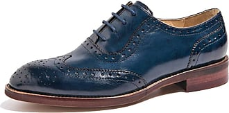 MGM-Joymod Womens Comfort Classic Lace-up Perforated Wingtip Leather Brogues Flat Vintage Pure Color Oxfords Shoes (Blue) 5 M UK