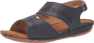 Easy Street Womens Sloane Flat Sandal, Navy Leather, 6.5 X-Wide