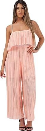 Momo & Ayat Fashions Ladies Pleated Frill Cami Jumpsuit UK Size 8-14 (Nude, M/L (UK 12-14))