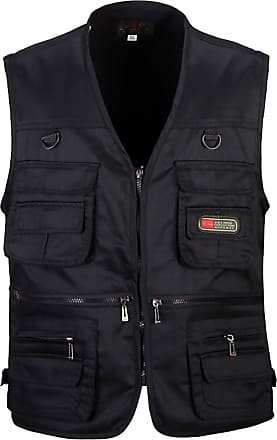 Vdual Men Casual Waistcoat Sleeveless Vest Outdoor Reporters Photography Camping Hunting Fishing Working Vest Jacket Gilet Top Black