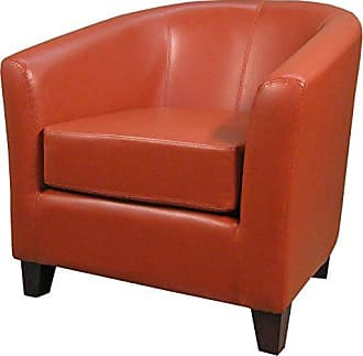 New Pacific Direct 193010B-8141 Hayden Bonded Leather Tub Accent Chairs, Pumpkin Orange