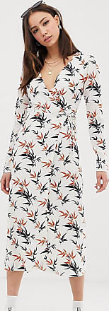 Glamorous Midi-Wickelkleid mit Palmen-Print-Cremeweiß