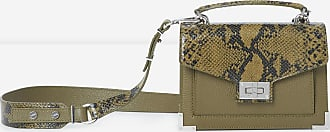 The Kooples Emily small, snake-print khaki leather handbag - WOMEN