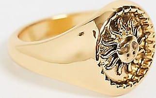 Reclaimed Vintage inspired sun signet ring in 14k-Gold