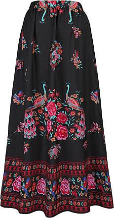 QUINTRA Women Boho Maxi Skirt Beach Floral Holiday Summer High Waist Long Skirt Black