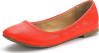 Dream Pairs Womens Slip On Round Toe Ballerina Ballet Flats Pumps Shoes Sole Happy Coral Size 8.5 US/ 6.5 UK