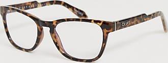 Quay Hardwire mini square blue light lens glasses in tort-Brown