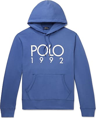 Polo Ralph Lauren Logo-print Fleece-back Cotton-blend Jersey Hoodie - Blue