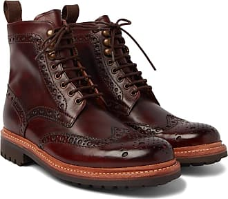 Grenson Fred Burnished-leather Brogue Boots - Dark brown