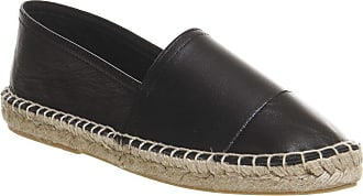 Office Lucky Espadrille with Toe Cap Black Leather - 7 UK
