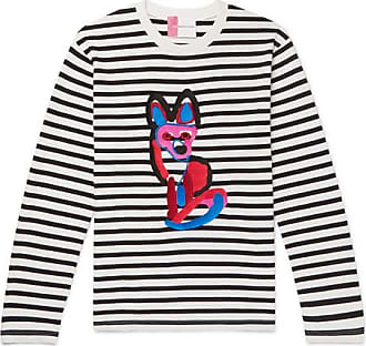 e6a6839edc Maison Kitsuné Slim-fit Appliquéd Striped Cotton-jersey T-shirt - White