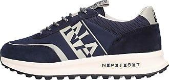 Napapijri Mens Sneakers Slate Pattern in Suede and Blue Nylon Fabric with White Side Logo. Non Slip Rubber Backing Blue Size: 9 UK