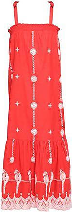 Joie Joie Woman Fluted Embroidered Cotton Midi Dress Red Size XXS