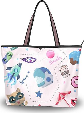 Lorona Women Travel Elements Canvas Shoulder Hand Bag Large Capacity Tote Bag