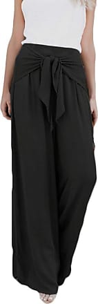 JERFER Women Fashion Casual Loose High Waist Wide Leg Bell Bottom Palazzo Flare Pants Causal Daily Black Gray Trousers