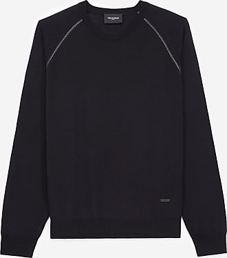 The Kooples Navy blue wool sweater in wool with leather - MEN