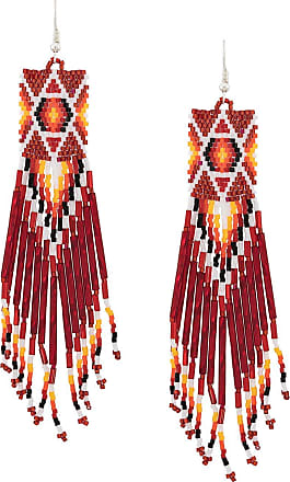 Jessie Western beaded long earrings - Vermelho